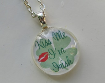 St. Patrick's Day Necklace, Saint Patty's Day, Ireland, Irish, Shamrock Necklace, Glass Pendant Necklace with Silver Chain