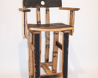 Oak, Scotch Whisky barrel stave bar/kitchen stool with back rest and arms