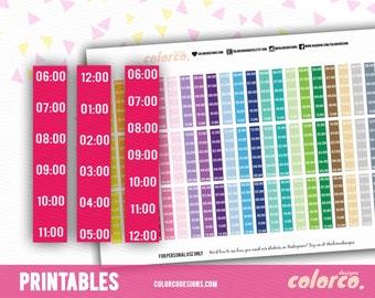 TIMELINE/ HOURLY sidebar - am/pm Printable Planner Stickers Erin Condren Inkwell Plum Paper Instant Digital Download