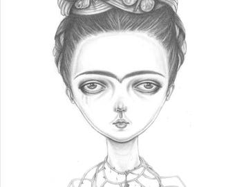 Frida with butterflies and a crow necklace, an A6  postcard