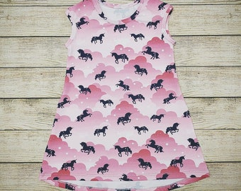 Girls Pink and Blue Unicorn T-Shirt Dress