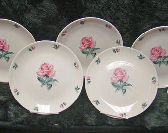 "5 Homer Laughlin Household Institute Rhythm Rose 9 1/4"" Dinner Plates"
