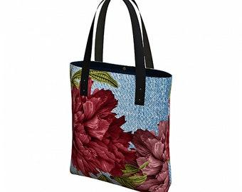 Reusable Grocery Bag - Boho Bag - Vegan Leather Straps - Tote Bag with Pockets - Canvas Tote Bag - Shoulder Bag - Everyday Womens Bag