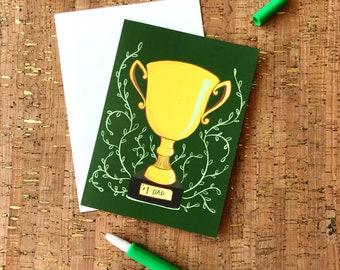Father's Day Card | Birthday Card | Thank You Dad | Trophy | Sports Trophy | Golf Award | Number One Dad Trophy Greeting Card