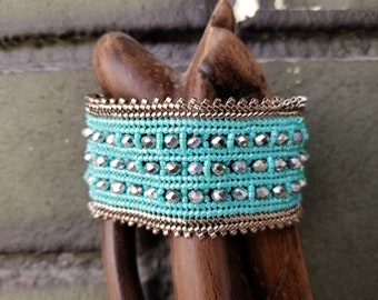 Herringbone stitch bracelet/cuff, Miyuki Delica Bracelet, Blue - Silver Bracelet, Gift for Her