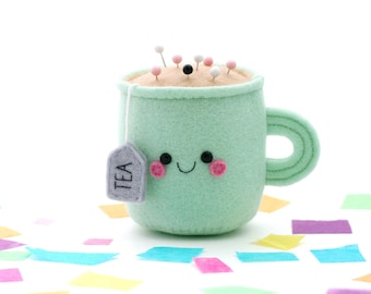 Mint Green Teacup Pincushion, Felt Room Accessory, Sewing Pin Safety, Seamstress Gift, Happy Tea