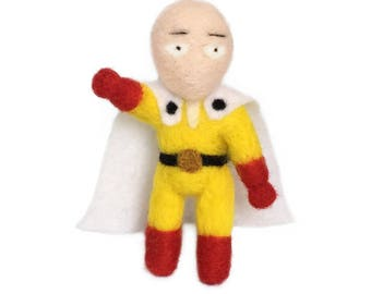 "One Punch Man. 3"" x 2.5"" x 1"". 100% handmade needle felted character."