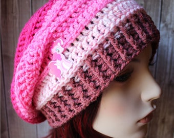 Pink Slouchy Beanie - READY TO SHIP - Women's Hats - Toque - Ladies Hats - Slouch Hat - Oversized Hat - Oversized Slouchy - One of a Kind