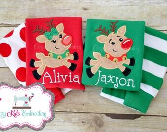 Christmas pajamas, Children's Pajamas, Kids Pajamas, Applique Pajamas, Monogram Pajamas, Monogram PJ, Reindeer Pajamas, Santa Train Pajamas