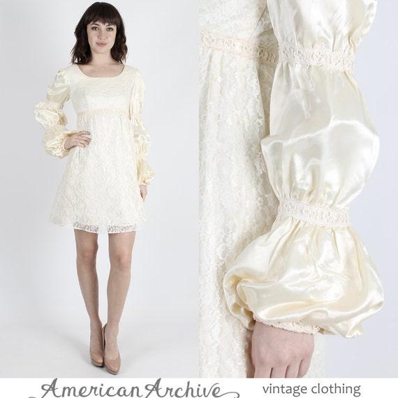 Boho Hochzeit Kleid Satin Kleid Spitze Kleid 70er Jahre Kleid