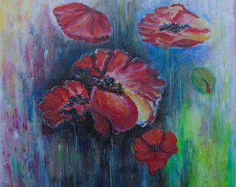 Original Oil Painting on Canvas. Flowers painting.  Poppy Painting. Contemporary Fine Art.