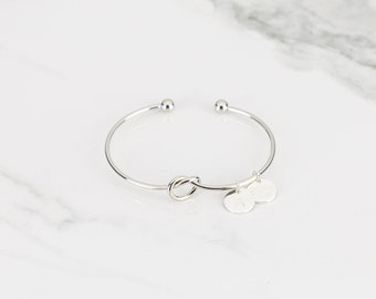 Personalized Initial Bracelet, Tie the Knot Bracelets for Women Best Selling Bridesmaid Jewelry, Bridesmaid Proposal Gift, Cuff Bracelet
