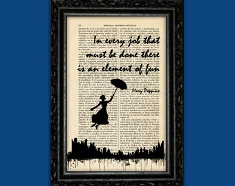 Mary Poppins In Every Job Quote Art Print Poster Book Art Dorm Room Print Gift Silhouette Print Wall Decor Poster Dictionary Print