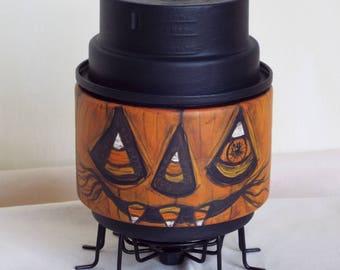 Halloween Candy Corn Spider Pumpkin Doll Handmade OOAK Folkart Decor