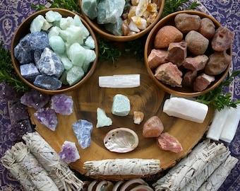 chakra smudge set,  crystal set, crystal kit, crystal grid, smudge set, chakra crystals