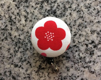 Red flower retractable ID Badge holder, red, flower, Nurses badge, fabric badge reel, ID clip, badge clip