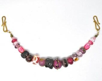 Pink/grey Viking apron necklace. Handmade glass viking beads.