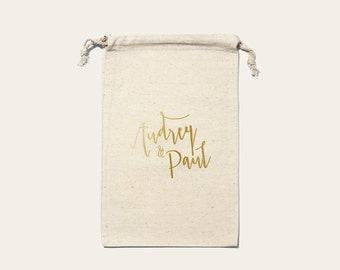 Large pouch wedding country custom Cotton size 20 x 30 cm