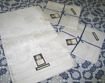 Antique Tablecloth & Napkins / Vintage VTG Dead Stock Linen Damask Tablecloth 6 Napkins / CZECHOSLOVAKIA / Art Deco Flowers / UNUSED
