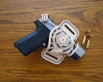 Hand tooled - Hand stitched Leather Gun Holster, Open carry, Great gift idea for any special occasion.