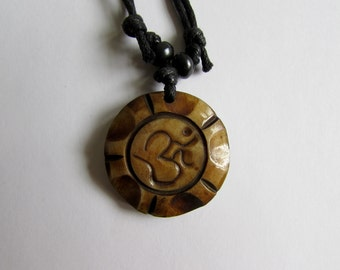 Adjustable Wax cord Om Ohm Aum Namaste Yak bone necklace handmade hand carved Unisex Tribal bone beads Yoga Yogi Free UK Delivery G2D9