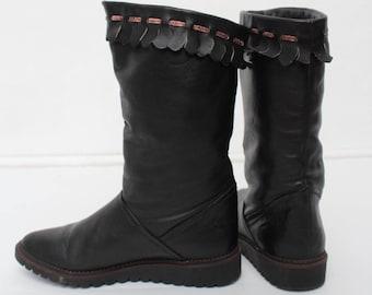 Vintage Black Leather Salamander Warm Boots/ Size 5