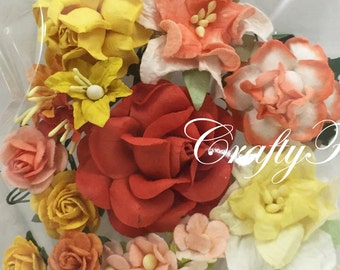 26 Mixed Paper Flowers Scrapbooks Wedding Faux Cards Dolls Crafts Roses Chic Lily 210/Set3(77)