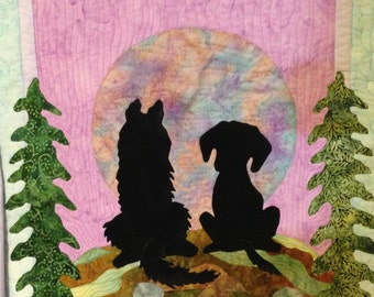 Dog quilt pattern / fusible applique pattern with dogs
