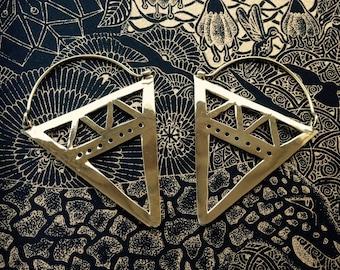 Handmade Brass Triangle Earrings by Quantum