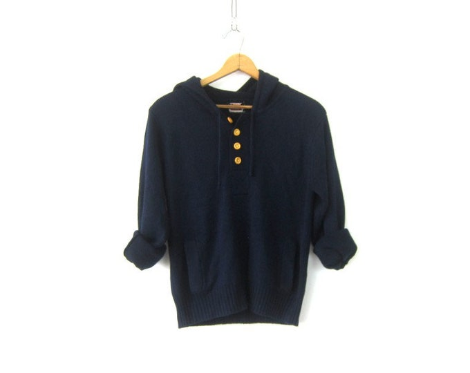 navy Blue Sweater vintage Hoodie 1970s Hooded Sweater Top Blue Henley Button Jumper Shirt Women's Size Medium