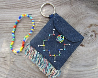 70s Beaded Fringe Denim Pouch w/ Beaded Bracelet // Keyring Holder // Make up Case // Vintage Jean Wallet