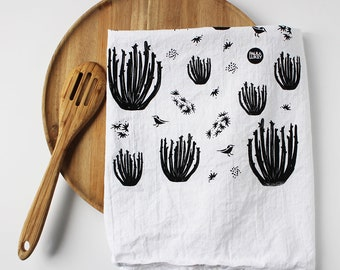 Organ Pipe Cactus Eco Screen Printed Tea Towel Cotton Flour Sack - 28x29 inches