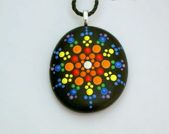 Mandala pendant necklace Mothers Day gift under 50 Bohemian statement jewelry painted rocks dot art SHIPS FREE beach fashion rainbow gypsy