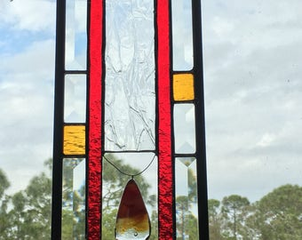 Contemporary Stained Glass Panel - red