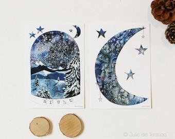 """Lot de 2 Cartes postales """"Sweet Night"""", 10,5x14,7cm"""