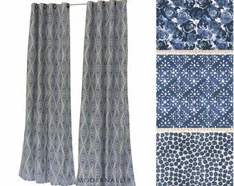 Designer Curtains- Drapery Panel Pair- Prussian Blue Curtains- Linen Curtains- Bedroom Drapes- Custom Curtains- Blue Window Curtain- Valance