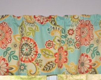 Retro Floral Curtains . Waverly Caribbean Teal Turquoise Red Fiesta Curtain  . Kitchen Window Valance . Retro Kitchen Valance. Waverly Spring