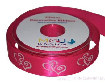 1 Metre of 25mm Double Heart Ribbon - Hot Pink - Wedding Anniversary Decoration Cake