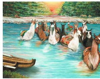 New handpainted Llama River Sunset oil art print
