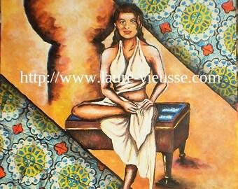 The Oriental painting 50 x 65 cm unique and original