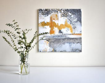 Abstract painting, acrylic on canvas, original, white, grey, gold ' Rapunzel '