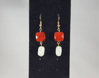 Ruby Red and White Drop Earrings