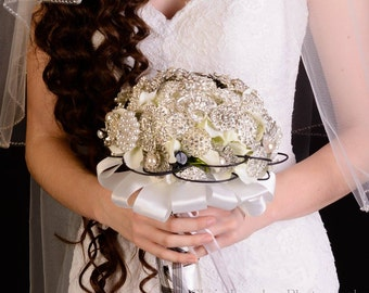 """8"""" Classic Brooch Bouquet with Black & White Accents"""