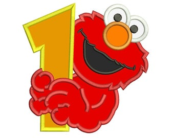 Elmo St Birthday Applique Design  Sizes For Instant Download