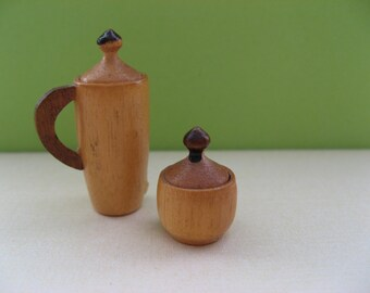Miniature wooden tea and sugar pots; vintage, dollhouse, plain wood