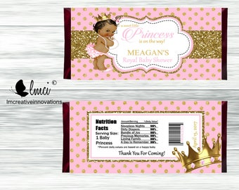 Royal Princess Candy Bar Wrappers, Party Favors - Digital File or Printed