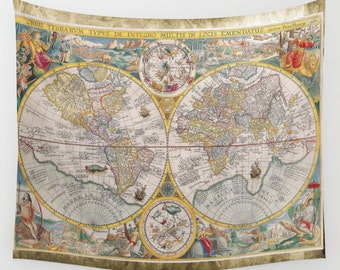 Old World Map Wall Tapestry, Vintage Map Large Size Wall Art, Modern Decor, Office, Ancient, Beach Hut, Brown Tapestry, Vintage Map, Dorm