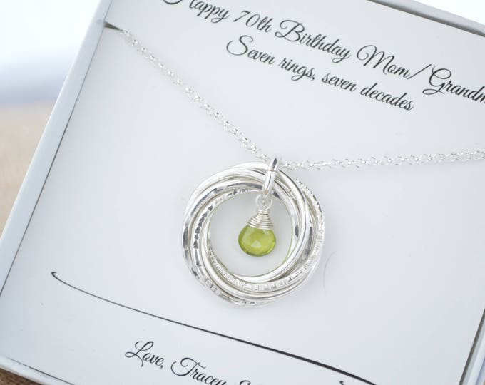 70th Birthday necklace for mom and grandma, August birthstone necklace, 7th Anniversary gift for her, Peridot jewelry, 7 Rings necklace