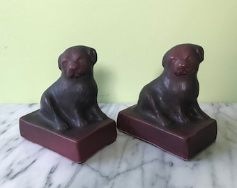 """Pair of 5"""" Van Briggle Art Pottery Puppy Bookends with AA Mark Persian Rose Glaze"""