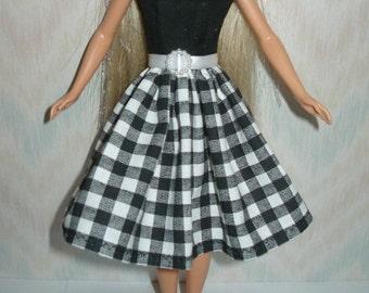 "Handmade Regular 11.5"", Tall, Curvy or Petite fashion doll clothes - black and white dress"